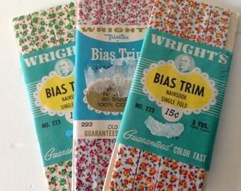 1950s Plaid Bias Tape / Old Rose, Emerald, & Yellow Floral / Vintage Sewing Notions / Vintage Bias Tape / Trimtex Bias Trim / 3 Yards Each