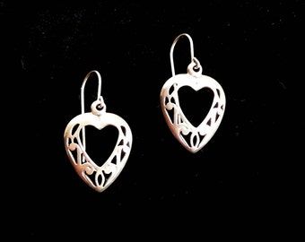 Sterling Silver Earrings Hearts Pierced Dangles .925