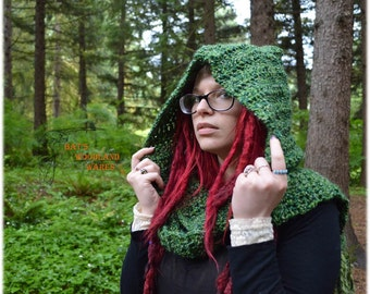 Hooded Scarf - Moss - Crocheted Woodland Pixie Scarf