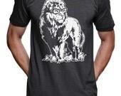 Lion Professor Genius T-Shirt - American Apparel Shirt -Heather Black - S M L Xl 2X