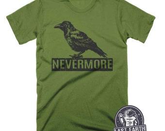 Nevermore Raven T Shirt Funny Tees Shirts Book Shirt Literature Tshirt Black Bird Shirt Halloween Shirt Spooky Horror Gift Tees Mens Ladies