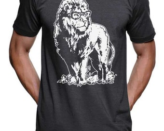 Lion Professor Genius T-Shirt - American Apparel Shirt -Heather Black - S M L Xl 2X