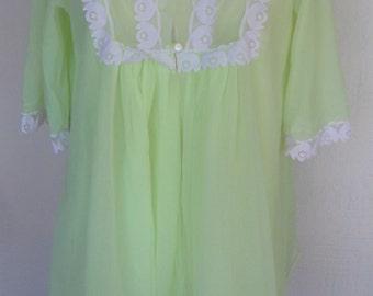 Vintage Nightgown Baby Doll Short Robe Lemon Lime Chiffon by Dorsay