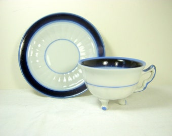 Vintage ROSE TEA CUP Triple Footed 3 Feet German Porcelain Demitasse Flower Bouquet