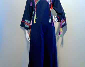 Vintage 1970s JEFF BANKS Colourful Tasseled Kaftan Cotton w Satin Ribbon with Silky Tassels // Patchwork Yoke // Bohemian Avant Garde Hippie