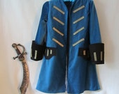Child's Pirate Coat Only, Steampunk - Elizabeth Swan - Pirate Wedding - Fully Lined, All Cotton & Silk Fabric - Size 2 To 9, Made To Order