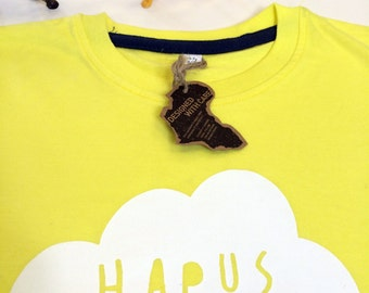 Kids Clothes Yellow T-shirt Welsh Text Hapus White Unisex
