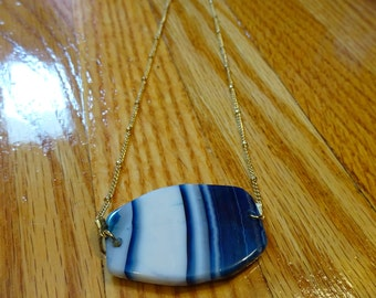 Blue Agate & Gold Chain Necklace