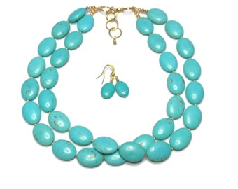 Turquoise Necklace 2 Strand Turquoise Oval Statement Necklace Chunky Turquoise Necklace Bridesmaid Necklace Teal Necklace Bridesmaid Jewelry