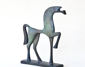 Metal Horse, Cast Bronze Metal Sculpture, Ancient Greek Geometric Art, Horse Lover Gift, Equine Home Decor, Museum Replica, Unique Art Gift