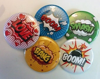 BANG! Comic Book Buttons | 1.5 Inch Pins, Magnets or Keychains