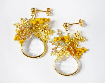 Seed Bead Earrings, Gold Seed Bead Crystal Earrings, Beaded Earrings, Yellow Seed Bead Earrings, 14kt Gold Filled
