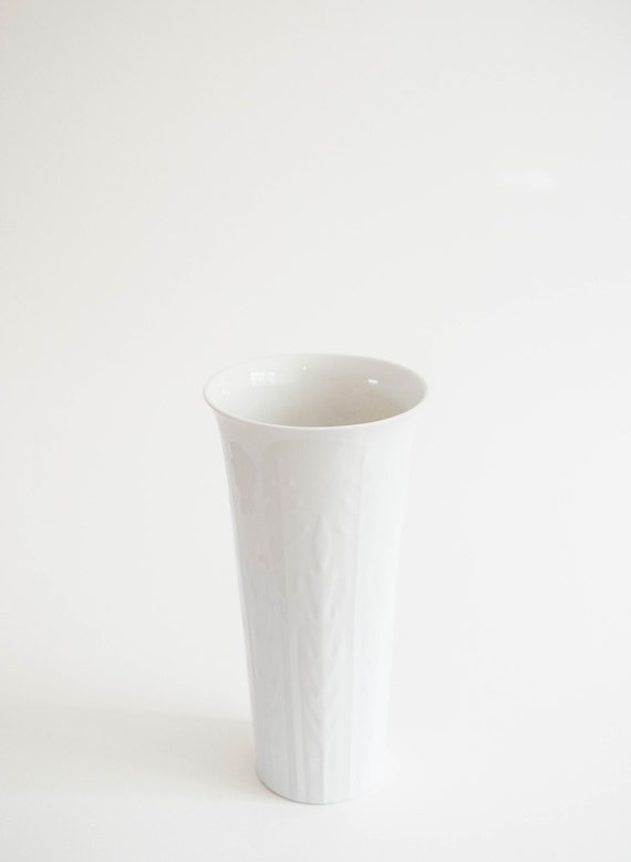 Mid Century Modern Glazed White Porcelain Vase // Edelstein West Germany  // Bohemian Botanical Home Decor