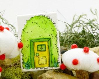 Grassy Gnome Home Painting | Gnome Door | Fairy Door | Woodland |Fairy Garden | Tiny Doors | Green | Yellow Door | Original Art | Wall Art