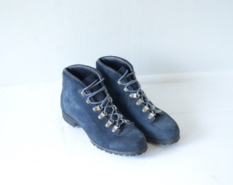 Vintage Vasque Italian Made Blue Leather Hiking Boots Womens 6