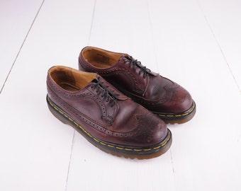 Vintage Dr. Martens Burgundy Wingtip Oxford Shoes, Made in England, UK 8, Womens US 10, Mens US 9 / ITEM245