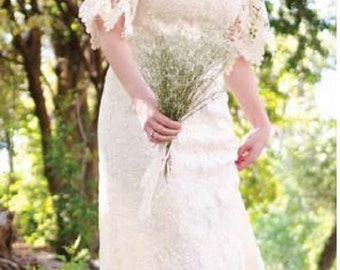 Ivory Boho Lace Wedding Dress - Altered Couture Magazine - Cowgirl Chic - Junk Gypsy Style - Size 8