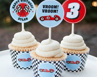 Race Car Birthday Cupcake Toppers - Race Car Birthday Decorations - Car Birthday - Digital PDF File
