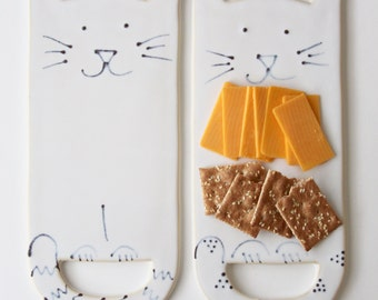 Kitty Cat Cheese Board Tray - Creamy White - Modern Ceramic Serving Dish Home Decor - READY TO SHIP