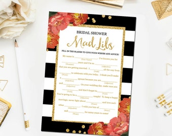 Black and White Bridal Shower Mad Libs Game, Bridal Shower Games Printable Glitter Confetti Floral Bridal Mad Libs Instant Download BR11