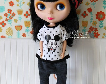 Girlish - Dotties White Mickey Tee for Blythe doll - dress / outfit