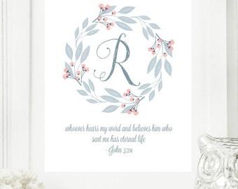 "Instant ""Monogram Scripture"" Wall Art Print 8x10 Typography Letter ""R"" Printable Home Decor"