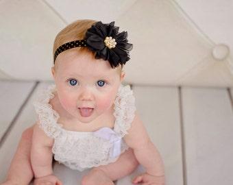 Black Gold Pearl Newborn Headband Baby Headband Photo Prop with Rhinestone- Baby Headband - Newborn, infant, child, teen or adult