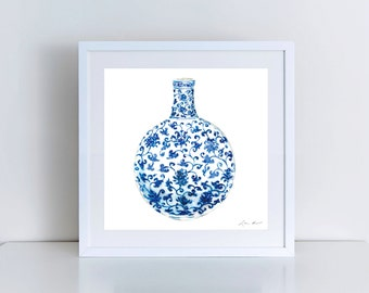 Blue and White China Jar No. 13 Giclee Print of Watercolor Ginger Jar Porcelain Chinoiserie Chic Floral Peony Scroll Gift for Her under 50