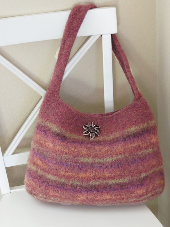 Felted Purse Pattern Knit Bag Pattern by DeborahOLearyPattern