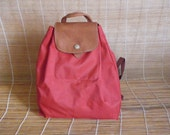 Vintage Small Size Red Canvas Beige Leather Bag Backpack Rucksack