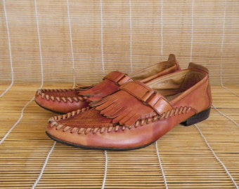 Vintage Man's Brown Leather Loafers With Fringes Shoes Size EUR 41 / US Man 8