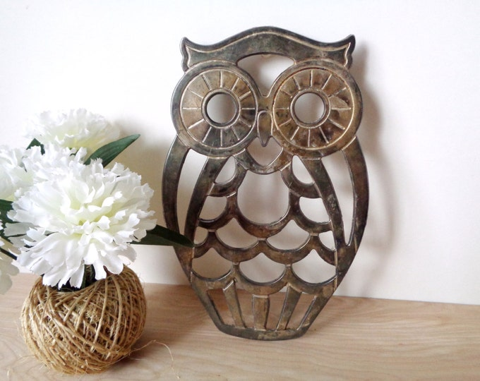 Vintage Silver Plated Owl Trivet Tray by Leonard