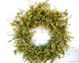 Summer Wreath-Farmhouse Wreath-Eucalyptus Wreath-Fall Wreath-Winter Door Wreaths-Outdoor Wreath-Year Round Wreath-Housewarming Gift