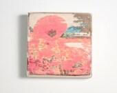 Poppy Art Block, Art Blocks, Boho Art, Wood Printing, Wood Block Art, Small Art, Wood Print, Poppies, Field of Poppies, Red Poppy