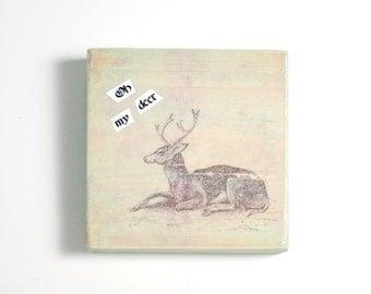 Oh My Deer Art Block, Art Blocks, Boho Art, Wood Printing, Wood Block Art, Small Art, Vintage Art Print, Deer Art, Deep Print