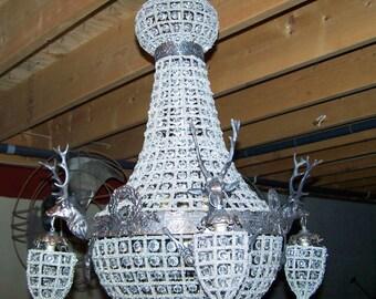 deer chandelier,large deer antler chandelier, mule antler chandelier,glass,empire style brass,blow out price