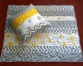 Quilted Baby Playmat - Yellow Grey Dandelion Chevron, Ready to Ship