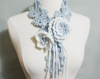 Crochet Scarf, Unique Crochet Multi-color Light  Silver Blue with White Flower Scarf, Removable Flower Pin, All 3 pieces, NEW