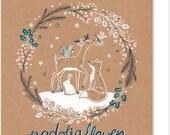 Nadolig Llawen Welsh Christmas Wreath Card. Cardiau Cymru. Welsh Cards. Nadolig Llawen a Blwyddyn Newydd Dda. Brown card. Forest Animals