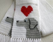 Weimaraner Dog Scarf. White knit and crochet scarf with gray dogs and red hearts