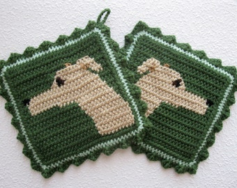 Greyhound Pot Holders. Sage green potholders with fawn greyhound dogs. Fiber art. Italian greyhound gift. Whippet gift