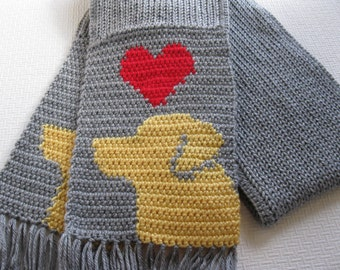 Yellow Labrador Retriever Scarf.  Gray, knit scarf with red hearts and yellow labs. Knitted dog scarf