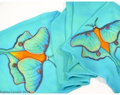"Luna Moth Silk Scarf~15""x58"" Handmade silk scarf. Hand painted silk scarf. Painted silk scarves. Luna Moth Scarf. Handpainted silk scarves"