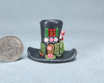 Handcrafted Miniature Christmas Hatter's Fairy House  OOAK by O'Dare