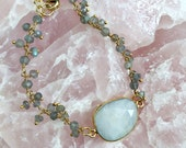 SALE Rainbow Moonstone & Labradorite Bracelet // Beaded, Wire Wrapped Rosary Chain, Gold Bezel Gemstone, Delicate Layer, Gray White