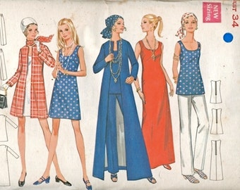 Super Mod Uncut Vintage 1960s Butterick 5598 A Line Dress, Tunic, Coat and Pants Wardrobe Sewing Pattern Bust 34