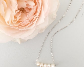 Freshwater pearl wedding necklace, Wedding necklace, Freshwater pearl bridal necklace