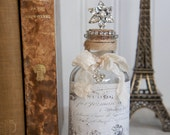 Decorative glass bottle with vintage french label upcycled bottle repurposed bottle home decor french decor  by My Sweet Maison.