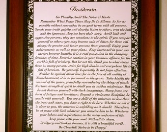 Framed DESIDERATA Poem by Max Ehrmann 18 x 15