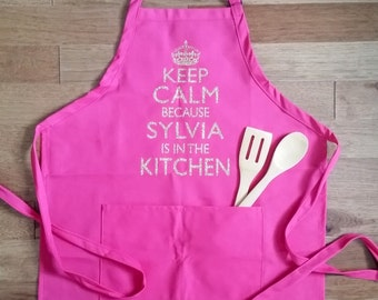 Personalized Keep Calm apron, womens cooking apron, personalized apron, gift for women, high quality Two Pocket Apron, womens gift